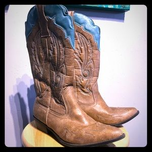 Shoes - Tan and turquoise vegan leather cowgirl boots